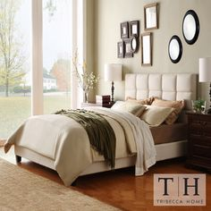 TRIBECCA HOME Sarajevo Beige Fabric Column King-size Bed | Overstock.com Shopping - Great Deals on Tribecca Home Beds