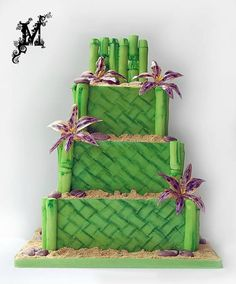 This is my contribution to the Mama's Boy collaboration by the Sugar Fraternity. It is inspired by my mom's love of travel and all things tropical. The bamboo is all hand painted, and the Queen of Sheba flowers are flexique & wafer paper Wafer Paper, Wedding Cake Inspiration, Sugar Art, Cakes And More, Zen, Beautiful Cakes, Collaboration, Wedding Cakes, Delicate