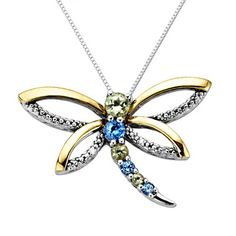 necklace | peridot + blue topaz dragonfly  pendant