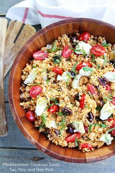 Mediterranean Couscous Salad Recipe on twopeasandtheirpod.com A great salad for potlucks, BBQ's, or any day!