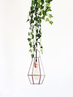 NEW! Large Industrial Hanging Pendant Light / Glass Geometric Lighting / Glass Candle Lantern / Hanging Wedding Lights / Geometric Wedding