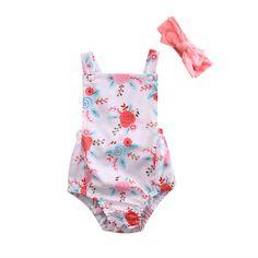 Summer Newborn Baby Kid Girl Flower Romper Jumpsuit & Headband Outfits Sunsuit 2PCS Clothing 0-18M #Affiliate