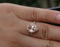 Oval 10x8mm Pink Morganite Engagement Ring with by Twoperidotbirds