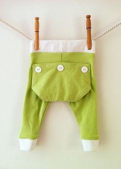 Green and White Long John Pants  baby boy unisex door mabelretro, $30.00