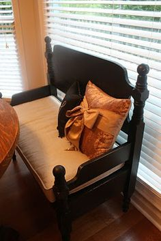 Our Happily Ever Afters: Chateau Lancaster: Update! Headboard Benches, Headboard And Footboard, Headboards For Beds, Antique Headboard, Furniture Projects, Home Projects, Home Furniture, Refurbished Furniture, Repurposed Furniture