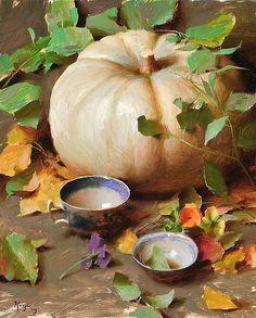 """D J Keys """"White Pumpkin with Vines"""" 2009 20"""" x 16"""" oil on linen"""
