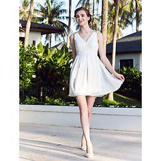 o linie prințesă v-gât scurt rochie mini / nunta sifon (783876) – USD $ 99.99