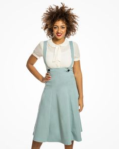 661866fe2428  Pixie  Vintage Inspired Pinafore Skirt in Sage Green