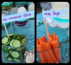 SNACK DECO IDEA: Cucumber= Sea Cucumber Slices and Carrot Sticks= Crab Legs