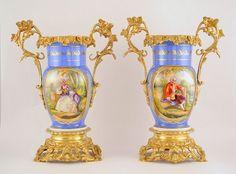 Grand vases en porcelaine kaminuhr horloge cartel empire clock sevres bronze