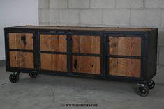 Vintage Industrial Media Console/Credenza. Retro, rustic, urban/modern design. Reclaimed wood doors & top. (buffet,sideboard) Mid century. www.combine9.com