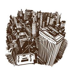 Hand drawn cityscape vector by Roman84 on VectorStock®