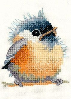 Cross Stitch Design Kit de punto de cruz Chickadee - Kit contains: 14 count Zweigart Aida fabric, DMC stranded cotton, chart, instructions and a needle Approximate design x square. Cute Cross Stitch, Cross Stitch Bird, Cross Stitch Animals, Counted Cross Stitch Patterns, Cross Stitch Designs, Cross Stitching, Cross Stitch Embroidery, Embroidery Patterns, Hand Embroidery
