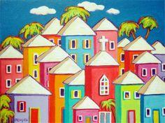 Colorful Houses Folk Art Original Painting Tropical Church Cat Caribbean - Little Village - Korpita ebsq Tropical Beach Houses, Tropical Art, Coastal Wall Decor, Coastal Art, Art Original, Original Paintings, Scrapbooking Image, Caribbean Art, Canvas Art
