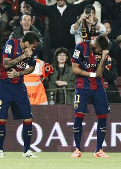 Neymar and Dani Alves dancing