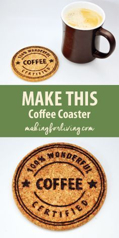Make a coffee coaster like this with your inkjet printer and this designed printable template and a woodburning pen.
