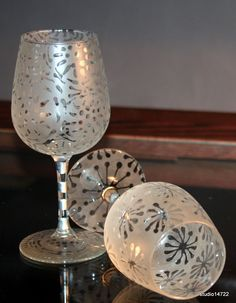etched and painted wine glasses by studio14722 on Etsy