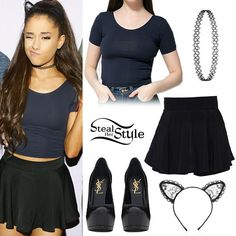 """Ariana Grande """"The Honeymoon Tour"""" Meet & Greet in Orlando, March 2015 – photo: arianagrandebr Girly Outfits, Summer Outfits, Cute Outfits, Fall Outfits, Teen Fashion, Fashion Outfits, Fashion Trends, Streetwear, Ariana Grande Outfits"""