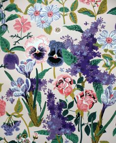 1950's Vintage Wallpaper  Custom Print Orchard by Hannahs Treasures