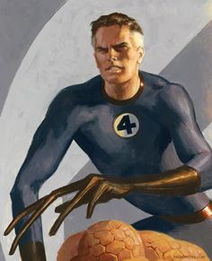 Mr Fantastic Reed Richards is a founding member of the Fantastic Four. Richards possesses a mastery of mechanical, aerospace and electrical engineering, chemistry, all levels of physics, and human and alien biology. He is the inventor of the spacecraft which was bombarded by cosmic radiation on its maiden voyage, granting the Fantastic Four their powers. Richards gained the ability to stretch his body into any shape he desires Mister Fantastic, Fantastic Four, Marvel Comics, Marvel Dc, Comic Books Art, Comic Art, Grimm, Daimon Hellstrom, Invisible Woman