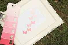 DIY paint swatch butterfly art. Cute for little girls room or greeting cards.