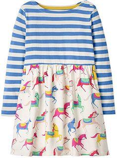 851fa9eb2e6 Amazon.com  Baby Girls Cute Cotton Long Sleeve Tunic Dresses Blue stripe  with horse Print 2t  Clothing