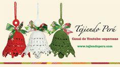Crochet Christmas Bells – Video in spanish Christmas Crochet Patterns, Holiday Crochet, Crochet Gifts, Diy Crochet, Christmas Bells, Xmas Ornaments, Christmas Decorations, Christmas Projects, Holiday Crafts