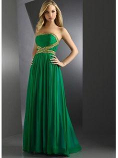 Enchanting Hunter Green Amazing A-line Strapless Beaded Pleated Floor Length Chiffon Homecoming Dress