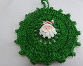 Christmas in July  Christmas Ornament, Crochet Green Ornament,  Santa Adornment