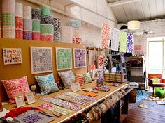 the colorful screenprinting studio of helen rawlinson -- originally a chocolate factory