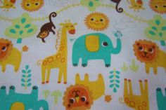 J.Swafing Happy Jungle Affen Löwen Giraffen Elefant Sonne Vogel Kinderstoff