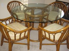 Vintage Bamboo Rattan Dining Set 200 Creve Coeur