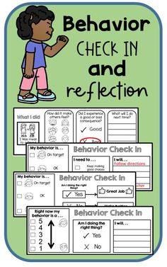 Behavior check in reflection for classroom management and positive behavior change. Encourage expected behaviors and appropriate replacement behaviors. Students recognizing inappropriate actions and behaviors. Emotional Support Classroom, Positive Behavior Support, Social Emotional Learning, Social Skills, Behavior Change, Positive Discipline, Autism Behavior Management, Kindergarten Classroom Management, Behavior Plans