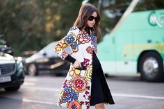 Miroslava Duma spotted with a Cruise 2015 jacket during Paris Fashion Week Spring 2015 - Photography by YoungJun Koo