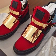 Guisseppe Zanotti Red velvet high top shoes with Gold plates over the strap and upper body. Ugh...is it weird that I want these for myself even though they're men's ?