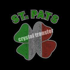 Custom Latest St.Pats Clovers Iron On Decal Designs,Saint Patrick clovers rhinestone transfers wholesale