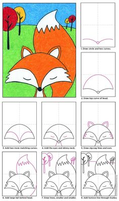 How To Draw A Cartoon Fox-- Set your pencils to paper and just follow the pictures Step by Step and before long you'll have your own fox.