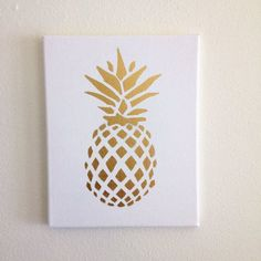 Gold Pineapple Canvas Print Hand Painted Tropical Home Decor. Gold Foil Trend. by SweetThymes.com