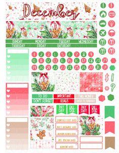 Printable Planner Stickers December Monthly View por LaceAndLogos