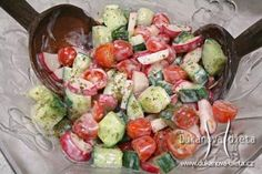 Tomato, Cucumber, and Radish Salad with Yogurt and Tahini Dressing Tahini Dressing, Radish Salad, Cobb Salad, Top 5, Desert Recipes, Greek Yogurt, Healthy Choices, Potato Salad, Cucumber