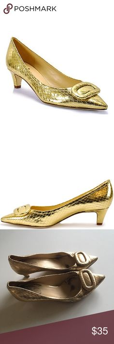 Worn Kate Spade Gold Simon Heels These kitten heels are timeless and styled with vintage inspiration! They're very worn as you can see in the photos but are still in great condition! kate spade Shoes Heels