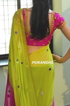 Beautiful green and pink color saree with mirror hand embroidery work.   To Buy this saree please contact  on whats app : 9701673187 Email : purandhistore@gmail.com 14 May 2018
