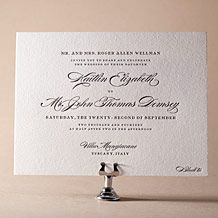 Deveril letterpress wedding invitation from Bella Figura. Customize yours with Paper Passionista.
