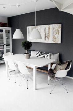 murs peints en noir, idée déco chambre pour créer une jolie déco salle à manger