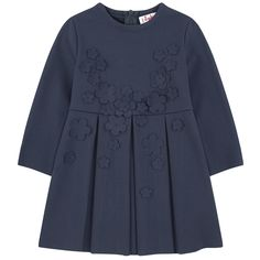 Stretch milano jersey Pleasant to wear Crew neck Long sleeves Box pleats on the front and in the back Very flared bottom Loose fit Invisible zipper at the back Fabric flowers on the front - $ 232