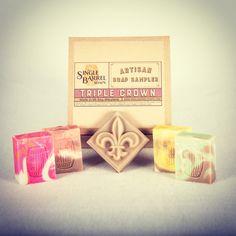 Sneak peek of our Triple Crown Soap Sampler Set!! #madeinmaryland #artisansoap #soapshare #hscgmaker