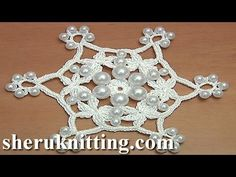 Crochet Snowflake Pattern With Beads Tutorial 28 - YouTube