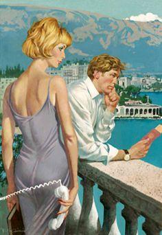 Robert McGinnis - ad for Stella Artois lager. James Bond Movie Posters, Movie Poster Art, Pulp Fiction Art, Pulp Art, Vintage Romance, Vintage Art, Retro Art, Vintage Ladies, Stella Artois