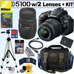 Nikon D5100 16.2MP CMOS Digital SLR Camera with 18-55mm f/3.5-5.6 AF-S DX VR Nikkor Zoom Lens and Sigma 70-300mm f/4-5.6 SLD DG Macro Lens with built in motor + 16GB Deluxe Accessory Kit $1,059.95