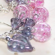 Crystal Cluster Pink Ice earrings in Silver Pierced or Clip-on by Maru Jewelry Designs